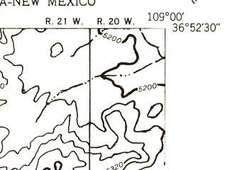 Reduced fragment of topographic map en--usgs--024k--002996--(1953)--N036-52-30_W109-07-30--N036-45-00_W109-00-00