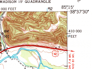 Reduced fragment of topographic map en--usgs--024k--003005--(1953)--N038-37-30_W085-22-30--N038-30-00_W085-15-00; towns and cities Bedford