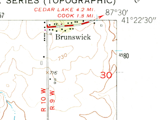 Reduced fragment of topographic map en--usgs--024k--003044--(1953)--N041-22-30_W087-37-30--N041-15-00_W087-30-00; towns and cities Beecher