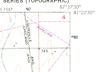 Reduced fragment of topographic map en--usgs--024k--003047--(1953)--N041-22-30_W087-45-00--N041-15-00_W087-37-30