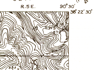 Reduced fragment of topographic map en--usgs--024k--003102--(1930)--N038-22-30_W090-37-30--N038-15-00_W090-30-00