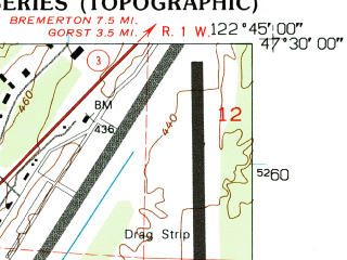 Reduced fragment of topographic map en--usgs--024k--003105--(1953)--N047-30-00_W122-52-30--N047-22-30_W122-45-00