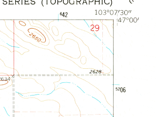 Reduced fragment of topographic map en--usgs--024k--003110--(1962)--N047-00-00_W103-15-00--N046-52-30_W103-07-30; towns and cities Belfield