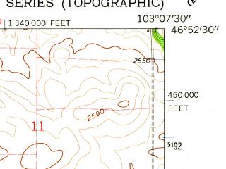 Reduced fragment of topographic map en--usgs--024k--003113--(1962)--N046-52-30_W103-15-00--N046-45-00_W103-07-30
