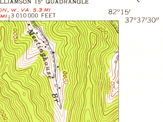 Reduced fragment of topographic map en--usgs--024k--003115--(1954)--N037-37-30_W082-22-30--N037-30-00_W082-15-00