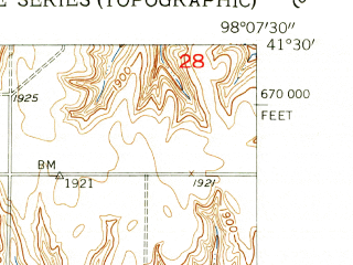 Reduced fragment of topographic map en--usgs--024k--003125--(1954)--N041-30-00_W098-15-00--N041-22-30_W098-07-30
