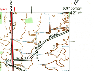 Reduced fragment of topographic map en--usgs--024k--003192--(1942)--N042-15-00_W083-30-00--N042-07-30_W083-22-30; towns and cities Belleville