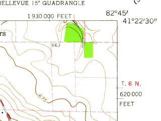 Reduced fragment of topographic map en--usgs--024k--003201--(1959)--N041-22-30_W082-52-30--N041-15-00_W082-45-00; towns and cities Bellevue