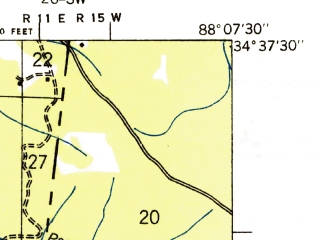 Reduced fragment of topographic map en--usgs--024k--003232--(1936)--N034-37-30_W088-15-00--N034-30-00_W088-07-30; towns and cities Belmont