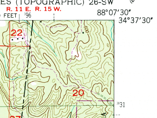 Reduced fragment of topographic map en--usgs--024k--003232--(1950)--N034-37-30_W088-15-00--N034-30-00_W088-07-30; towns and cities Belmont
