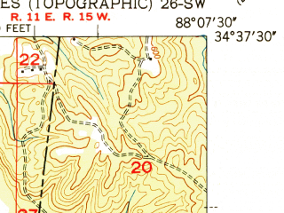 Reduced fragment of topographic map en--usgs--024k--003232--(1951)--N034-37-30_W088-15-00--N034-30-00_W088-07-30; towns and cities Belmont