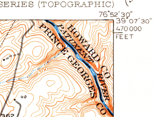 Reduced fragment of topographic map en--usgs--024k--003264--(1951)--N039-07-30_W077-00-00--N039-00-00_W076-52-30; towns and cities Beltsville, Calverton, Fairland, Burtonsville, Cloverly