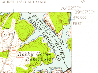 Reduced fragment of topographic map en--usgs--024k--003264--(1956)--N039-07-30_W077-00-00--N039-00-00_W076-52-30; towns and cities Fairland, Hillandale, White Oak, Cloverly, Burtonsville