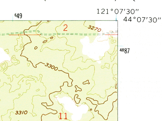 Reduced fragment of topographic map en--usgs--024k--003310--(1962)--N044-07-30_W121-15-00--N044-00-00_W121-07-30