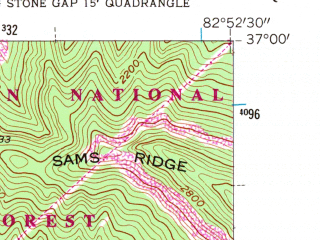 Reduced fragment of topographic map en--usgs--024k--003328--(1954)--N037-00-00_W083-00-00--N036-52-30_W082-52-30; towns and cities Benham, Cumberland, Lynch