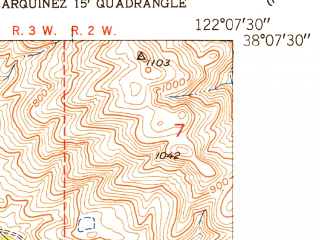 Reduced fragment of topographic map en--usgs--024k--003330--(1952)--N038-07-30_W122-15-00--N038-00-00_W122-07-30; towns and cities Benicia, Crockett