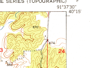 Reduced fragment of topographic map en--usgs--024k--003331--(1951)--N040-15-00_W091-45-00--N040-07-30_W091-37-30