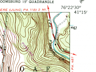 Reduced fragment of topographic map en--usgs--024k--003385--(1953)--N041-15-00_W076-30-00--N041-07-30_W076-22-30; towns and cities Benton