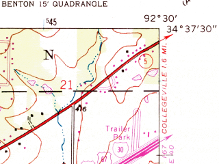 Reduced fragment of topographic map en--usgs--024k--003386--(1944)--N034-37-30_W092-37-30--N034-30-00_W092-30-00; towns and cities Benton, Bauxite