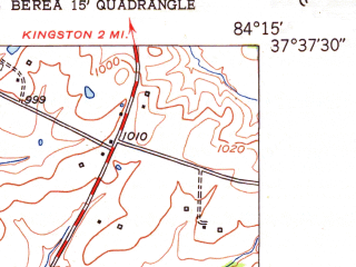 Reduced fragment of topographic map en--usgs--024k--003409--(1952)--N037-37-30_W084-22-30--N037-30-00_W084-15-00; towns and cities Berea
