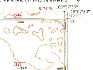 Reduced fragment of topographic map en--usgs--024k--003421--(1957)--N048-07-30_W100-45-00--N048-00-00_W100-37-30; towns and cities Bergen