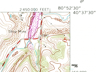 Reduced fragment of topographic map en--usgs--024k--003426--(1960)--N040-37-30_W081-00-00--N040-30-00_W080-52-30; towns and cities Bergholz