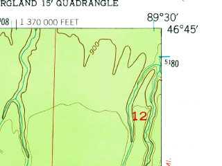 Reduced fragment of topographic map en--usgs--024k--003427--(1956)--N046-45-00_W089-37-30--N046-37-30_W089-30-00