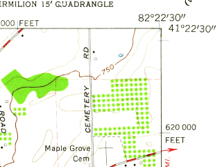 Reduced fragment of topographic map en--usgs--024k--003446--(1959)--N041-22-30_W082-30-00--N041-15-00_W082-22-30; towns and cities Berlin Heights, Wakeman