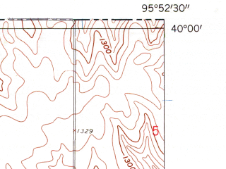 Reduced fragment of topographic map en--usgs--024k--003450--(1960)--N040-00-00_W096-00-00--N039-52-30_W095-52-30 in area of Sabetha City Lake; towns and cities Bern