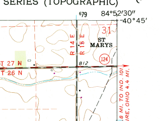 Reduced fragment of topographic map en--usgs--024k--003459--(1962)--N040-45-00_W085-00-00--N040-37-30_W084-52-30; towns and cities Berne, Monroe