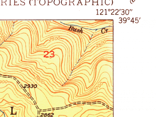 Reduced fragment of topographic map en--usgs--024k--003477--(1950)--N039-45-00_W121-30-00--N039-37-30_W121-22-30; towns and cities Concow
