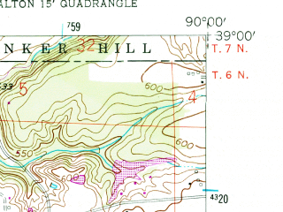 Reduced fragment of topographic map en--usgs--024k--003520--(1954)--N039-00-00_W090-07-30--N038-52-30_W090-00-00; towns and cities East Alton, Bethalto, Rosewood Heights