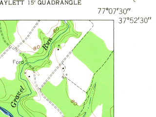 Reduced fragment of topographic map en--usgs--024k--003577--(1951)--N037-52-30_W077-15-00--N037-45-00_W077-07-30