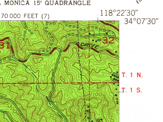 Reduced fragment of topographic map en--usgs--024k--003588--(1950)--N034-07-30_W118-30-00--N034-00-00_W118-22-30; towns and cities Los Angeles, Santa Monica, Beverly Hills, Culver City