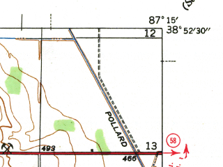 Reduced fragment of topographic map en--usgs--024k--003603--(1943)--N038-52-30_W087-22-30--N038-45-00_W087-15-00; towns and cities Bicknell, Edwardsport