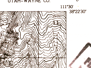 Reduced fragment of topographic map en--usgs--024k--003604--(1952)--N038-22-30_W111-37-30--N038-15-00_W111-30-00; towns and cities Bicknell