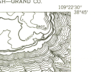 Reduced fragment of topographic map en--usgs--024k--003633--(1954)--N038-45-00_W109-30-00--N038-37-30_W109-22-30; towns and cities Castle Valley