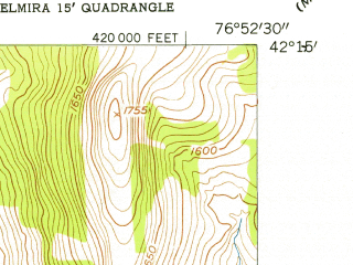 Reduced fragment of topographic map en--usgs--024k--003709--(1953)--N042-15-00_W077-00-00--N042-07-30_W076-52-30; towns and cities Big Flats, Big Flats Airport