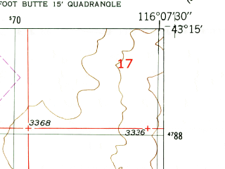 Reduced fragment of topographic map en--usgs--024k--003710--(1948)--N043-15-00_W116-15-00--N043-07-30_W116-07-30