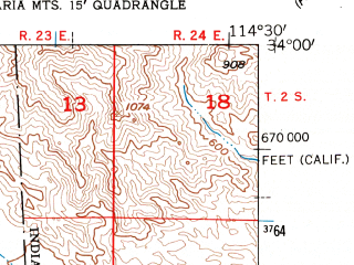 Reduced fragment of topographic map en--usgs--024k--003769--(1954)--N034-00-00_W114-37-30--N033-52-30_W114-30-00