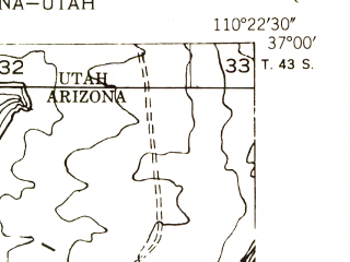 Reduced fragment of topographic map en--usgs--024k--003799--(1952)--N037-00-00_W110-30-00--N036-52-30_W110-22-30