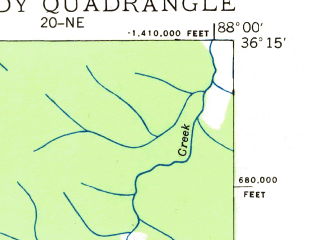 Reduced fragment of topographic map en--usgs--024k--003824--(1936)--N036-15-00_W088-07-30--N036-07-30_W088-00-00; towns and cities Big Sandy