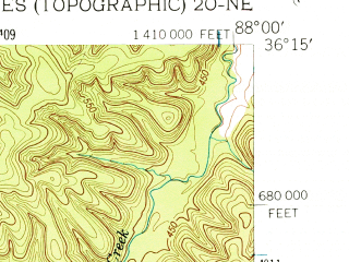 Reduced fragment of topographic map en--usgs--024k--003824--(1950)--N036-15-00_W088-07-30--N036-07-30_W088-00-00; towns and cities Big Sandy