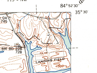 Reduced fragment of topographic map en--usgs--024k--003844--(1943)--N035-30-00_W085-00-00--N035-22-30_W084-52-30
