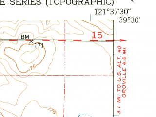 Reduced fragment of topographic map en--usgs--024k--003899--(1952)--N039-30-00_W121-45-00--N039-22-30_W121-37-30; towns and cities Biggs