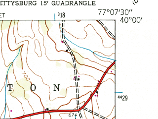 Reduced fragment of topographic map en--usgs--024k--003909--(1944)--N040-00-00_W077-15-00--N039-52-30_W077-07-30; towns and cities Bendersville, Biglerville