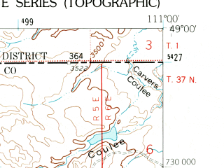 Reduced fragment of topographic map en--usgs--024k--003951--(1962)--N049-00-00_W111-07-30--N048-52-30_W111-00-00