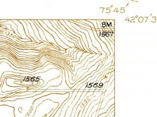 Reduced fragment of topographic map en--usgs--024k--003954--(1937)--N042-07-30_W075-52-30--N042-00-00_W075-45-00