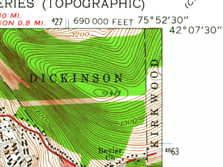 Reduced fragment of topographic map en--usgs--024k--003955--(1961)--N042-07-30_W076-00-00--N042-00-00_W075-52-30; towns and cities Binghamton, Johnson City
