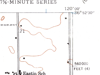 Reduced fragment of topographic map en--usgs--024k--003956--(1946)--N036-52-30_W120-07-30--N036-45-00_W120-00-00; towns and cities Ripperdan